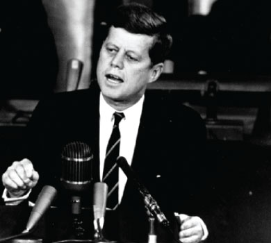 JFK giving speech on going to the moon