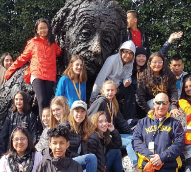 group at Einstein statue